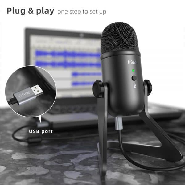 FIFINE USB Microphone for Recording/Streaming/Gaming,professional microphone for PC,Mic Headphone Output&Volume Control-K678